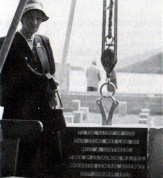 Miss A. Southberg laying the Foundation Stone of the new church on 10 January 1959 (photo M. Roy)