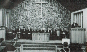 Officiating clergy and others during the dedication service (photo R.A. Little)