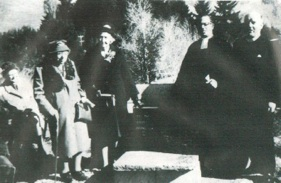 Miss Mary Salmond laying St Andrew's foundation stone (photo R.A. Little)